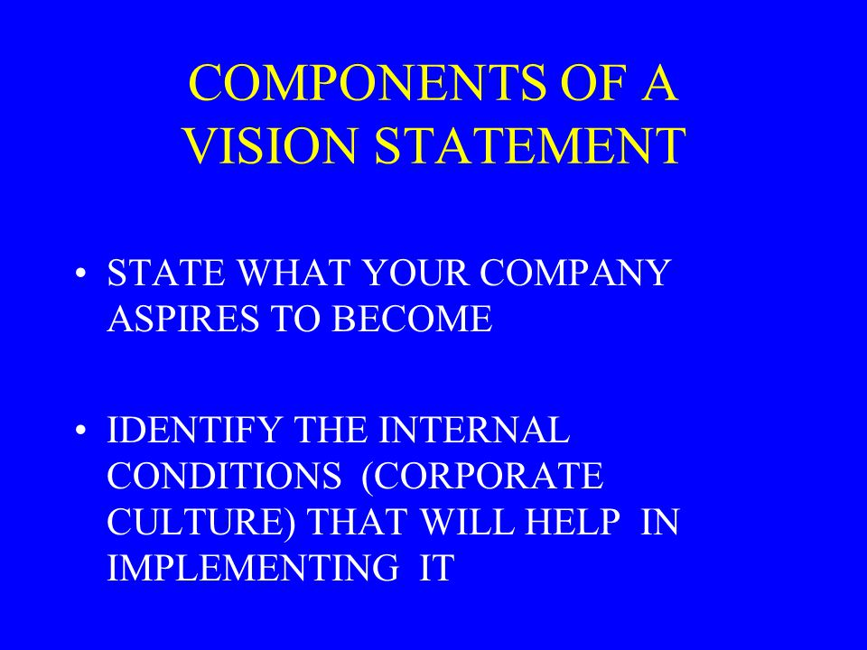 COMPONENTS OF A VISION STATEMENT