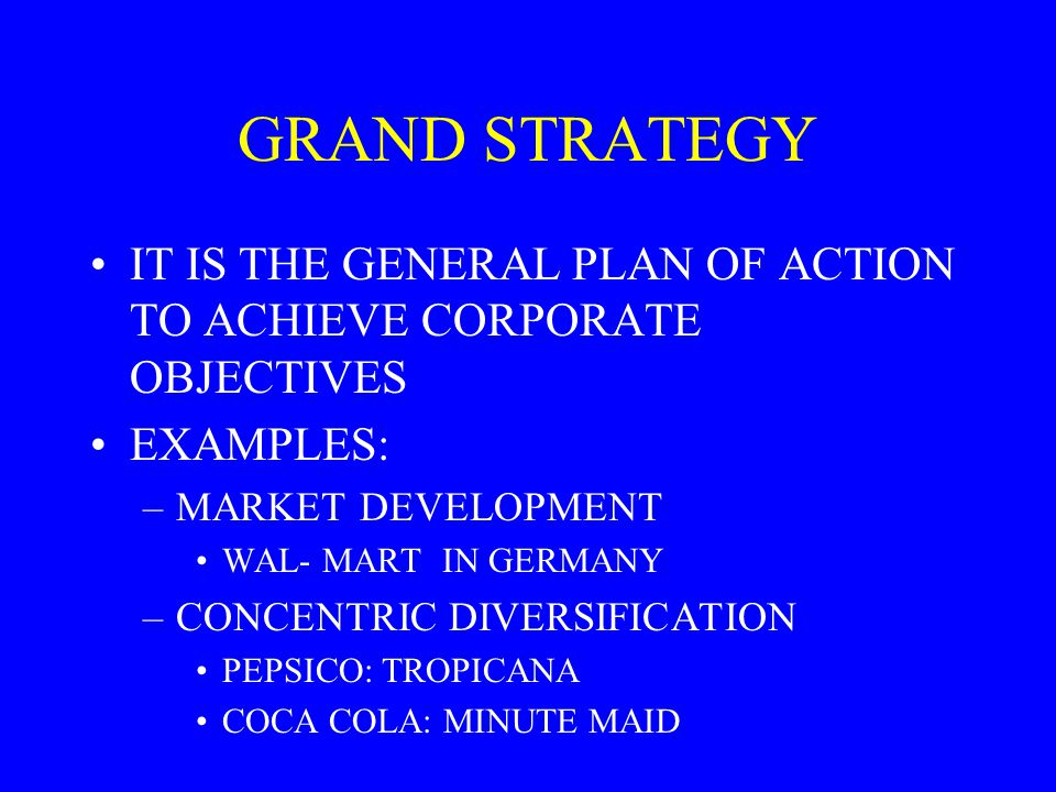 GRAND STRATEGY IT IS THE GENERAL PLAN OF ACTION TO ACHIEVE CORPORATE OBJECTIVES. EXAMPLES: MARKET DEVELOPMENT.