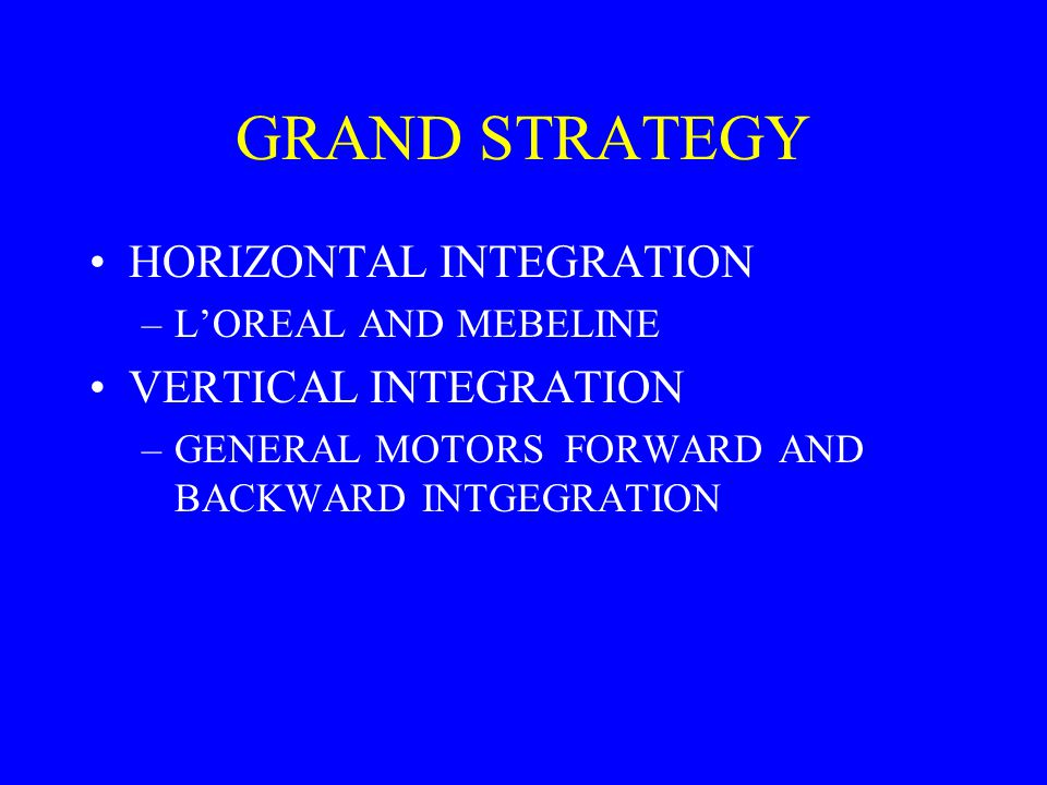 GRAND STRATEGY HORIZONTAL INTEGRATION VERTICAL INTEGRATION