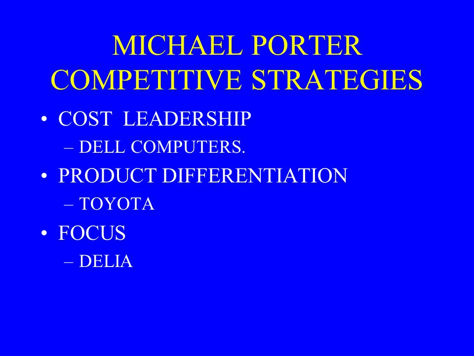 MICHAEL PORTER COMPETITIVE STRATEGIES