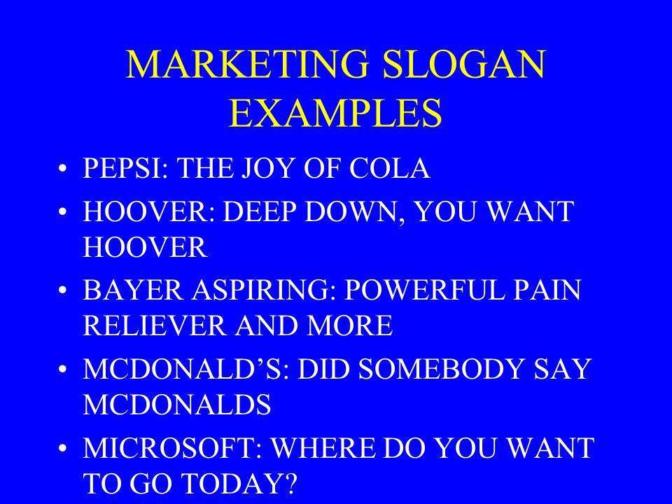 MARKETING SLOGAN EXAMPLES