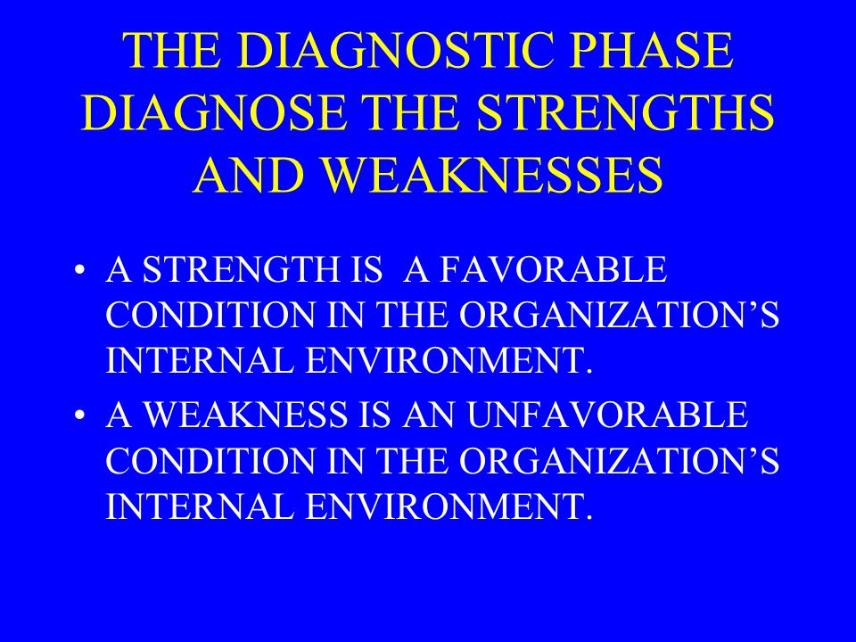 THE DIAGNOSTIC PHASE DIAGNOSE THE STRENGTHS AND WEAKNESSES