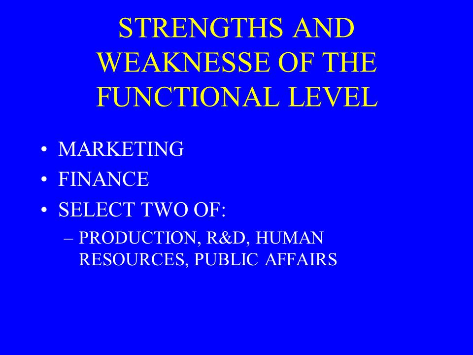 STRENGTHS AND WEAKNESSE OF THE FUNCTIONAL LEVEL