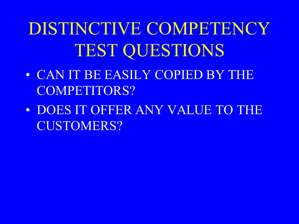 DISTINCTIVE COMPETENCY TEST QUESTIONS