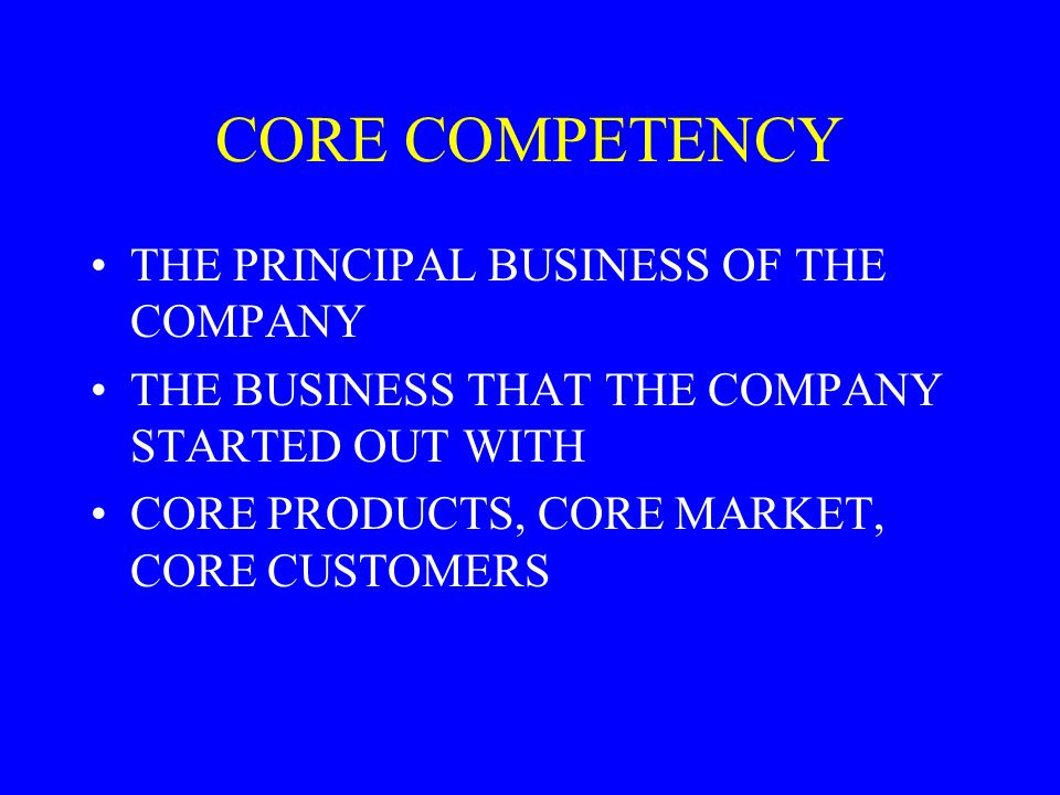 CORE COMPETENCY THE PRINCIPAL BUSINESS OF THE COMPANY