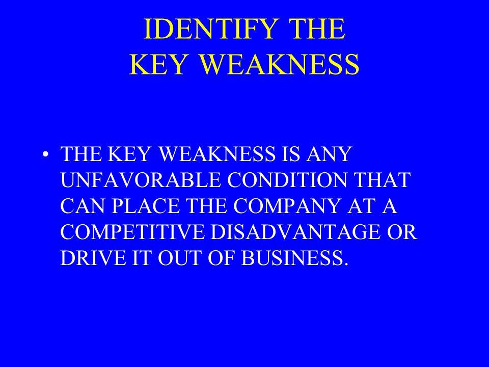 IDENTIFY THE KEY WEAKNESS