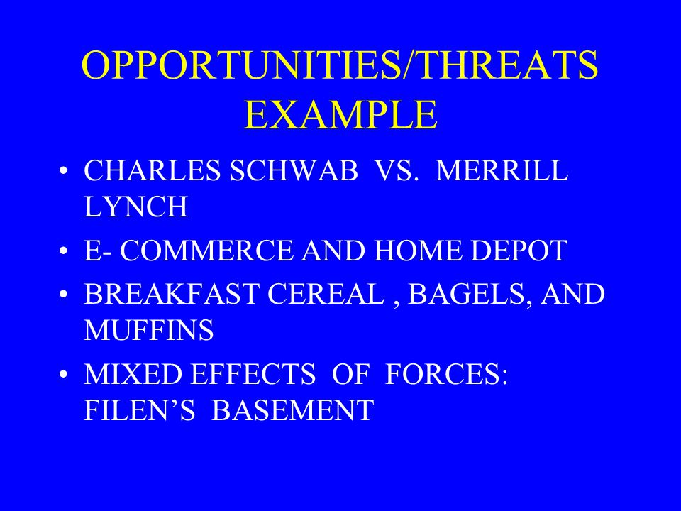 OPPORTUNITIES/THREATS EXAMPLE