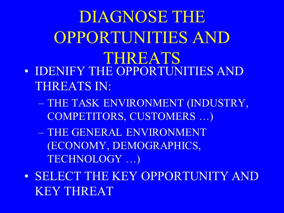 DIAGNOSE THE OPPORTUNITIES AND THREATS