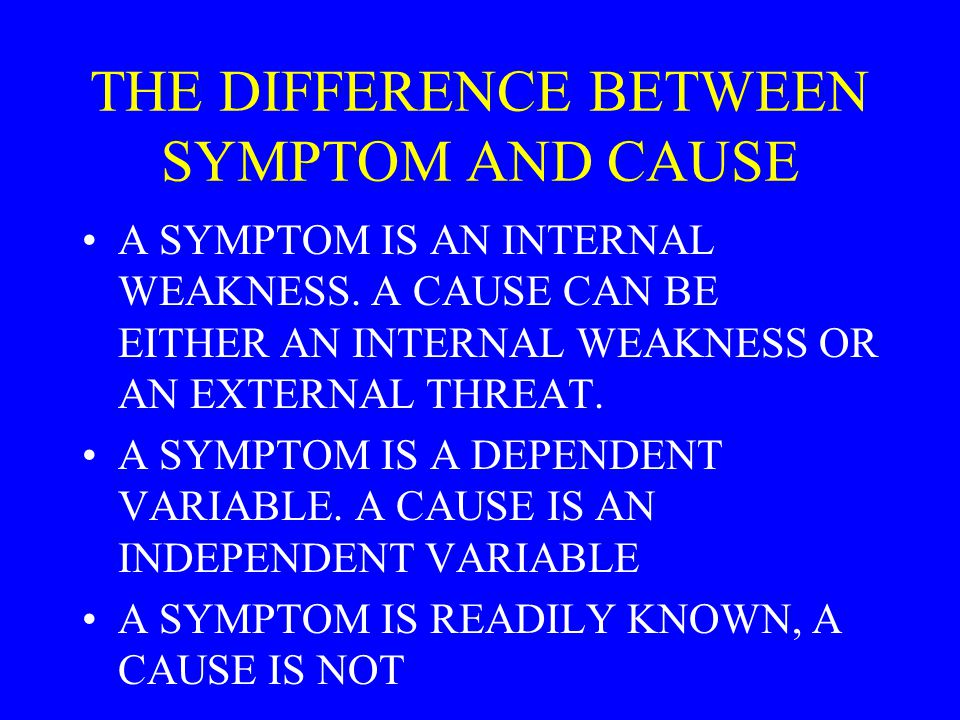 THE DIFFERENCE BETWEEN SYMPTOM AND CAUSE