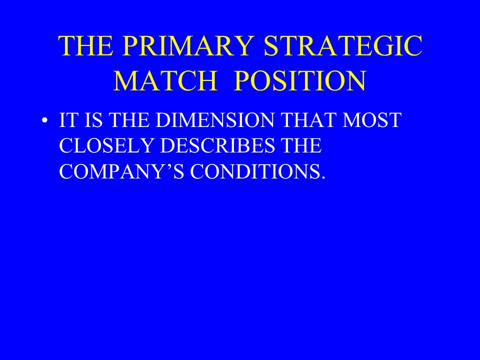 THE PRIMARY STRATEGIC MATCH POSITION