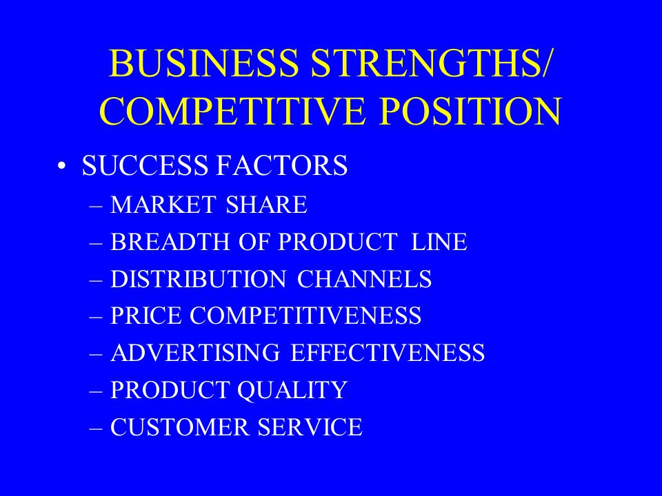 BUSINESS STRENGTHS/ COMPETITIVE POSITION