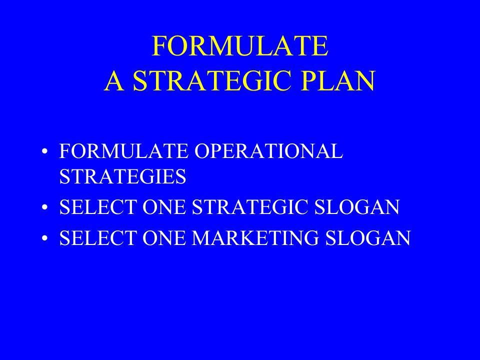 FORMULATE A STRATEGIC PLAN