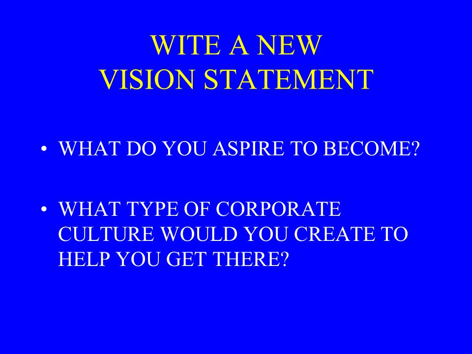 WITE A NEW VISION STATEMENT