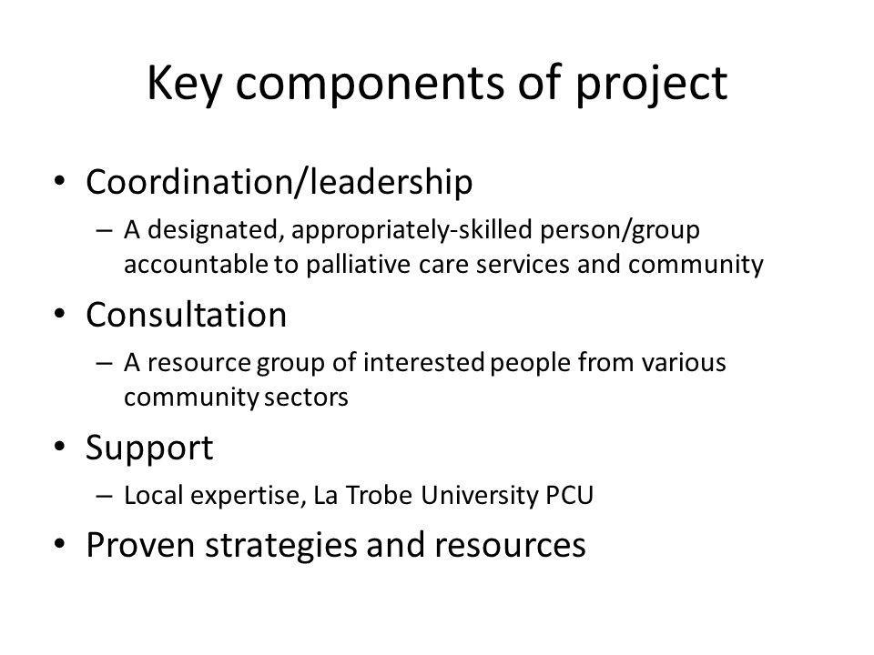 Key components of project