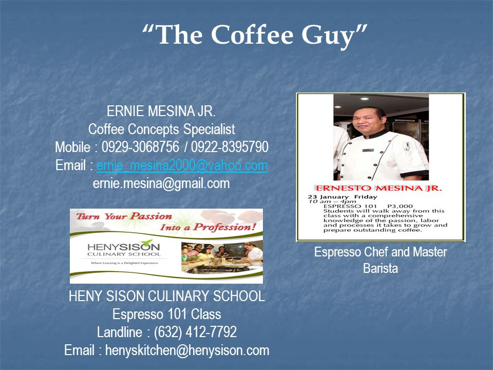 Espresso Chef and Master Barista