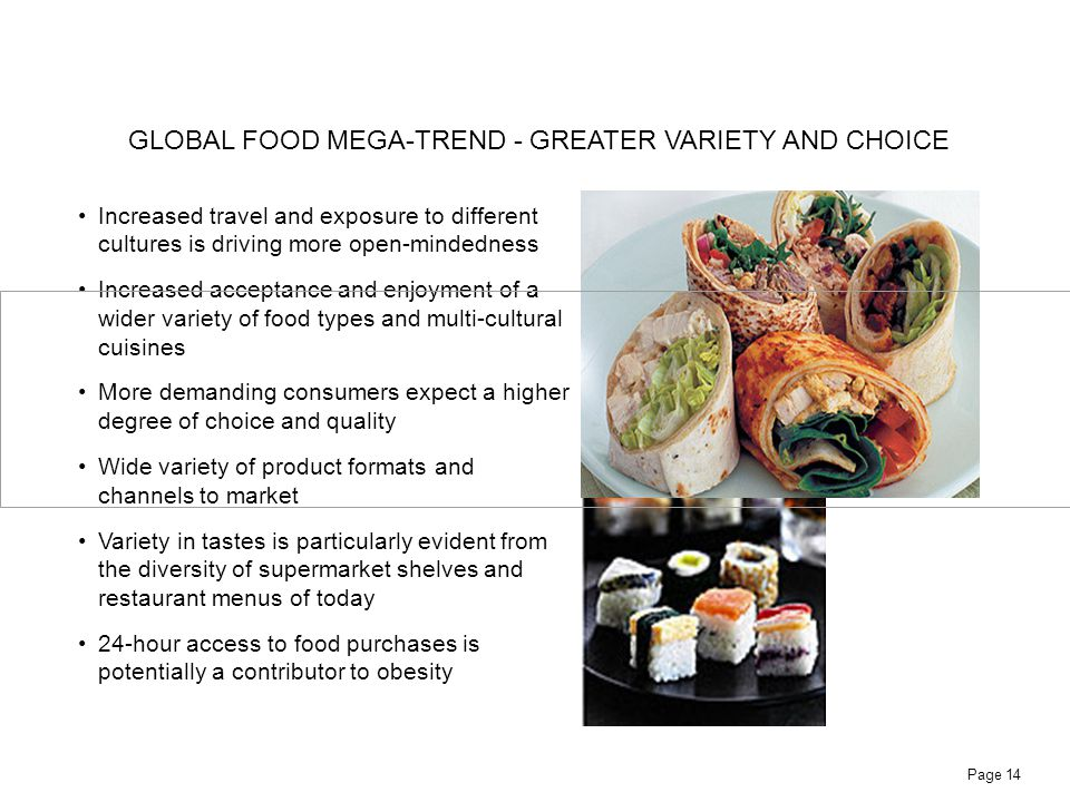 GLOBAL FOOD MEGA-TREND - GREATER VARIETY AND CHOICE