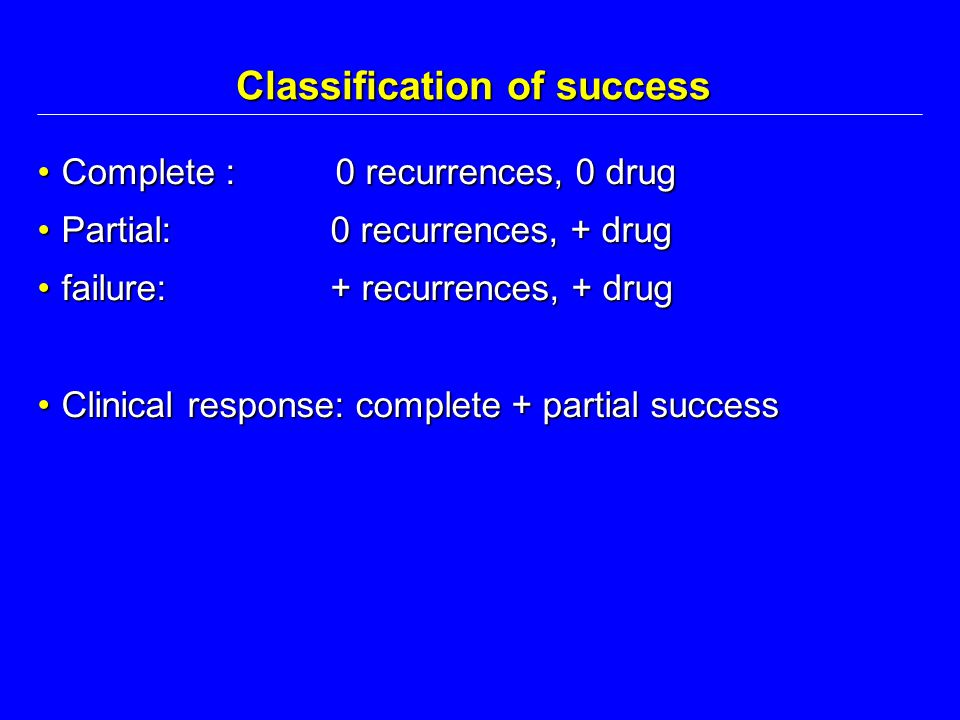 Classification of success