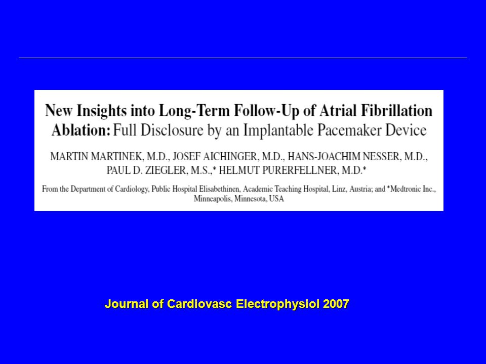 Journal of Cardiovasc Electrophysiol 2007