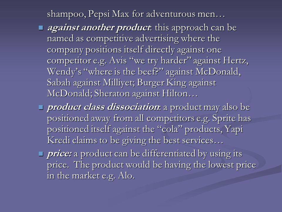 shampoo, Pepsi Max for adventurous men…