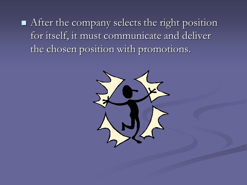 After the company selects the right position for itself, it must communicate and deliver the chosen position with promotions.