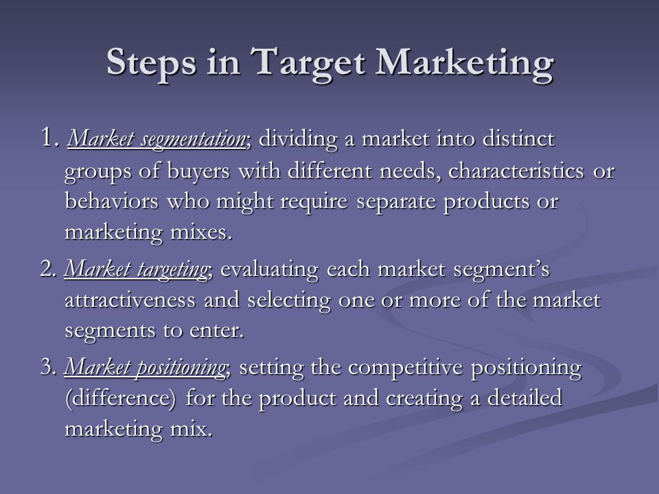 Steps in Target Marketing