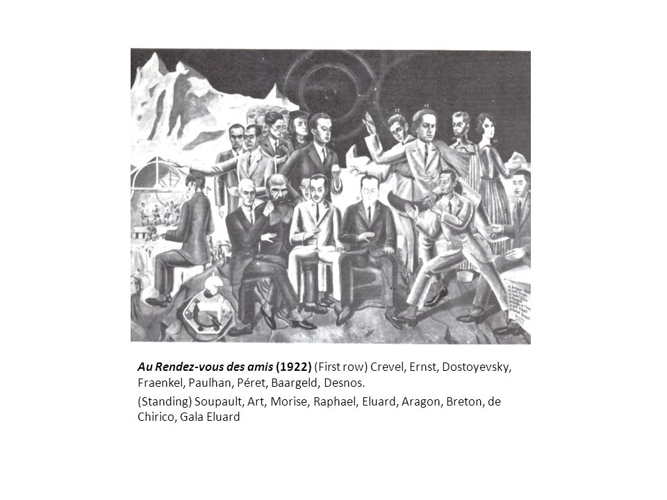 Au Rendez-vous des amis (1922) (First row) Crevel, Ernst, Dostoyevsky, Fraenkel, Paulhan, Péret, Baargeld, Desnos.