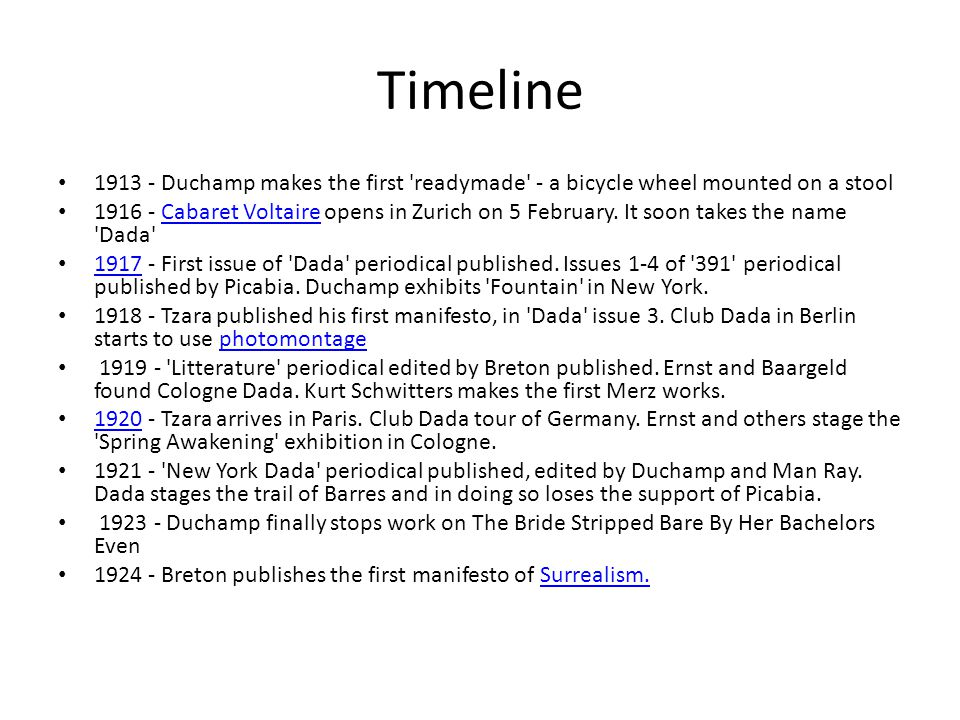 Timeline 1913 - Duchamp makes the first readymade - a bicycle wheel mounted on a stool.
