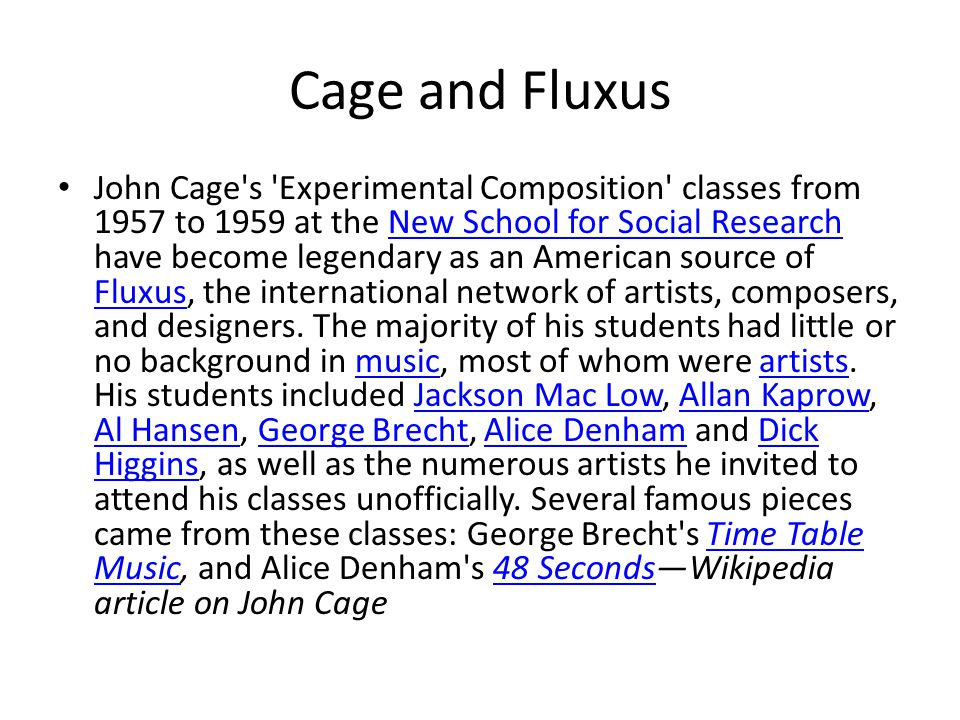 Cage and Fluxus