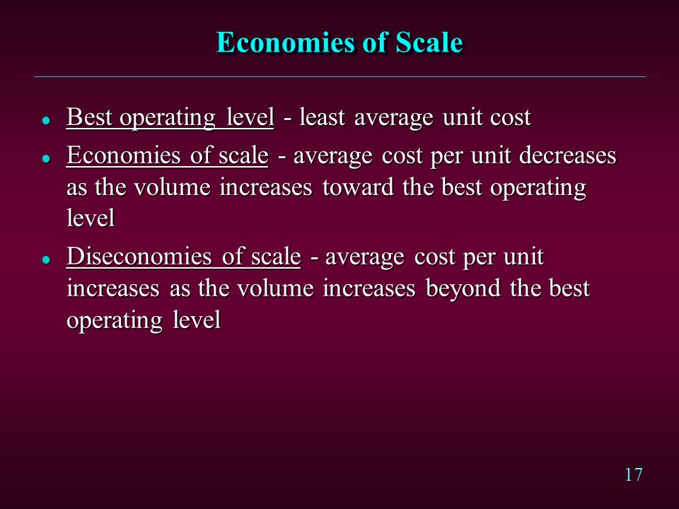 Economies of Scale Best operating level - least average unit cost