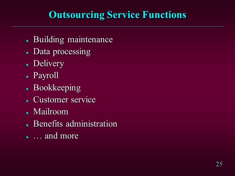 Outsourcing Service Functions
