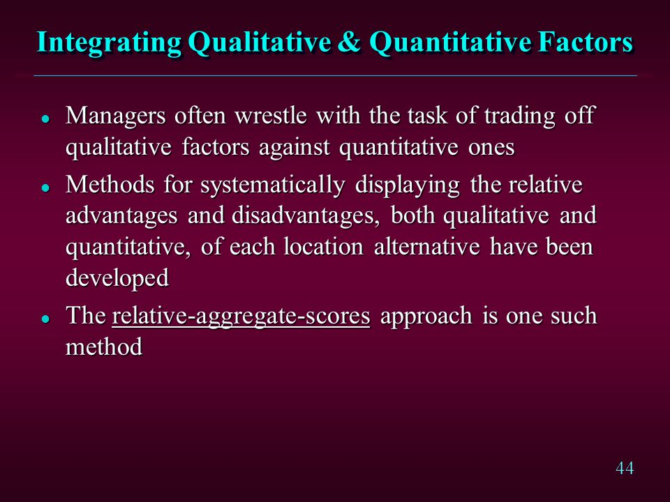 Integrating Qualitative & Quantitative Factors