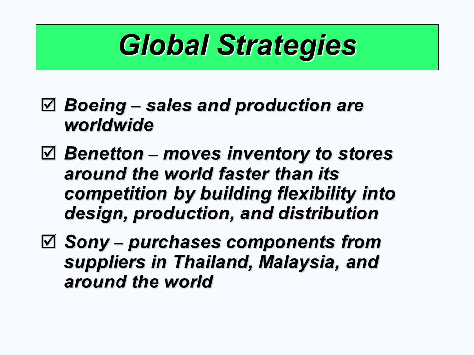 Global Strategies Boeing – sales and production are worldwide