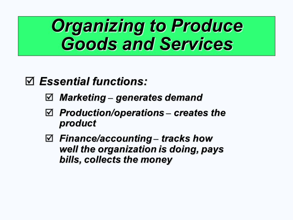 Organizing to Produce Goods and Services