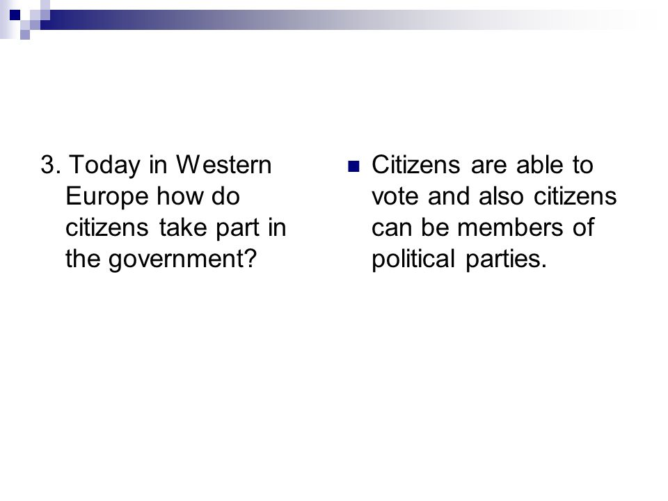 3. Today in Western Europe how do citizens take part in the government