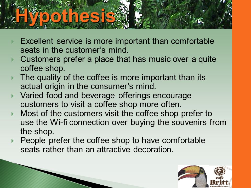 Hypothesis Excellent service is more important than comfortable seats in the customer's mind.