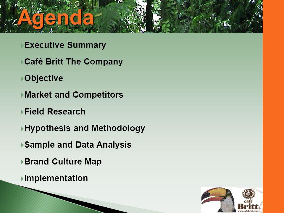 Agenda Executive Summary Café Britt The Company Objective