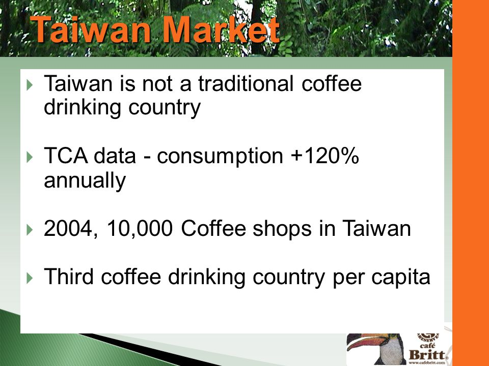 Taiwan Market Taiwan is not a traditional coffee drinking country