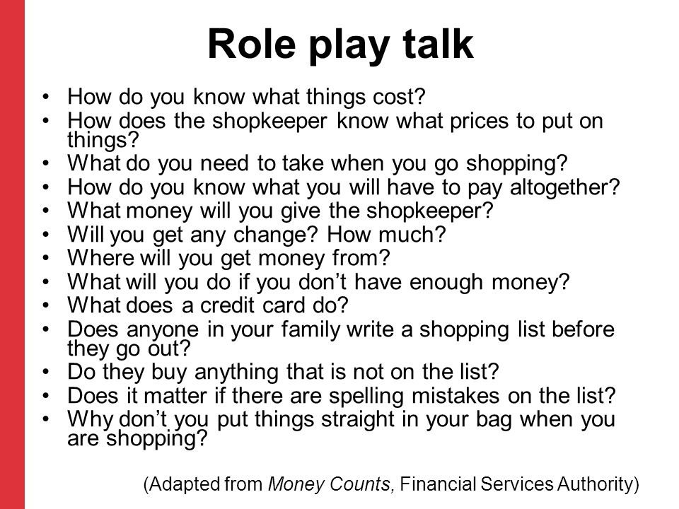 Role play talk How do you know what things cost