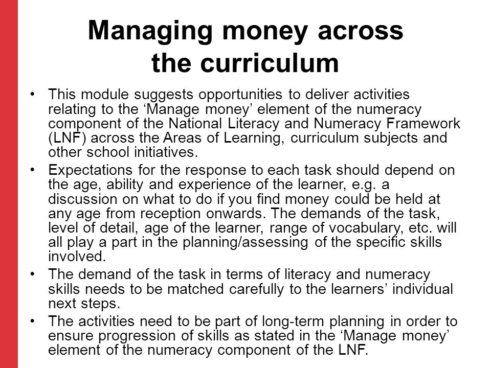 Managing money across the curriculum