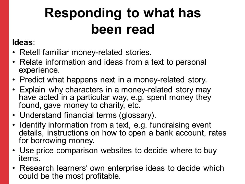 Responding to what has been read