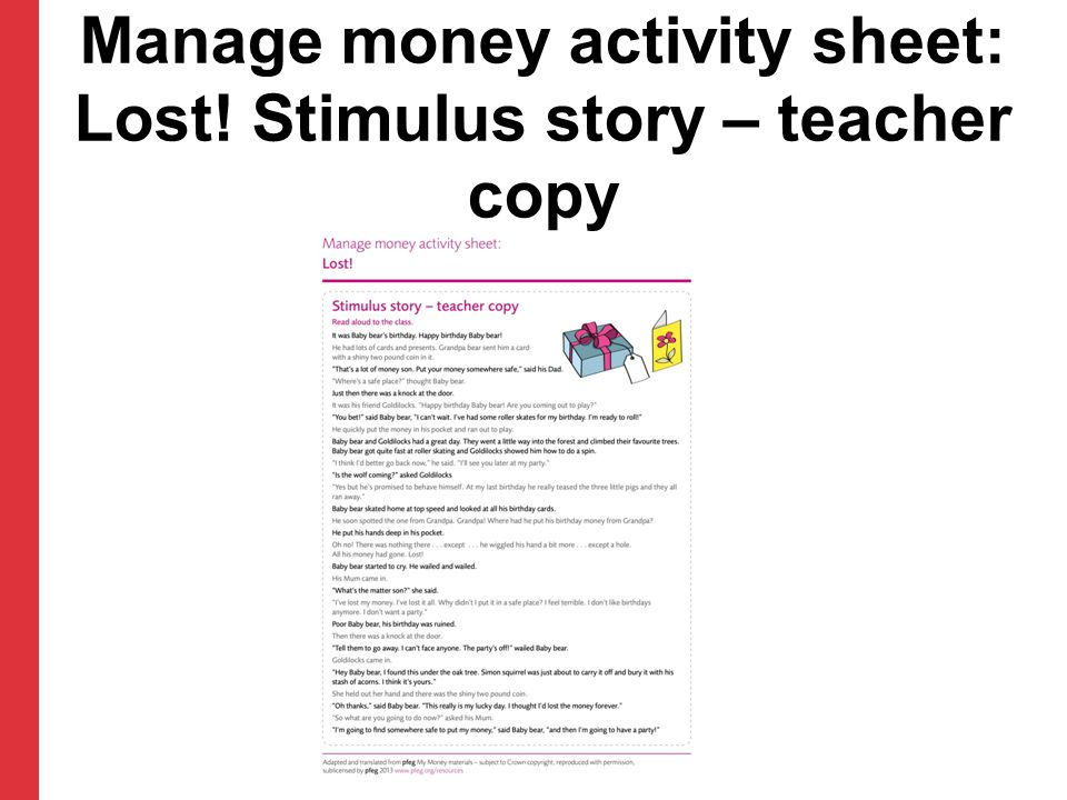 Manage money activity sheet: Lost! Stimulus story – teacher copy