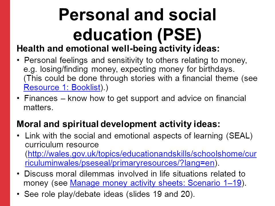 Personal and social education (PSE)