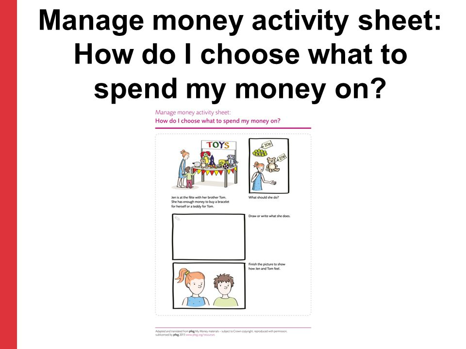 Manage money activity sheet: How do I choose what to spend my money on