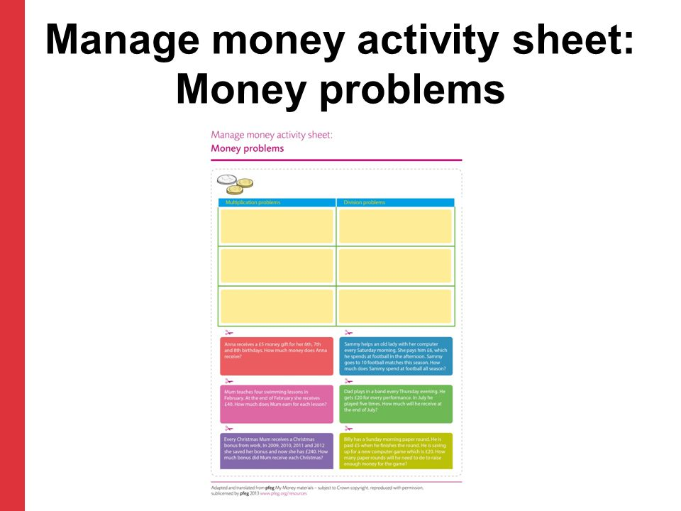 Manage money activity sheet: Money problems