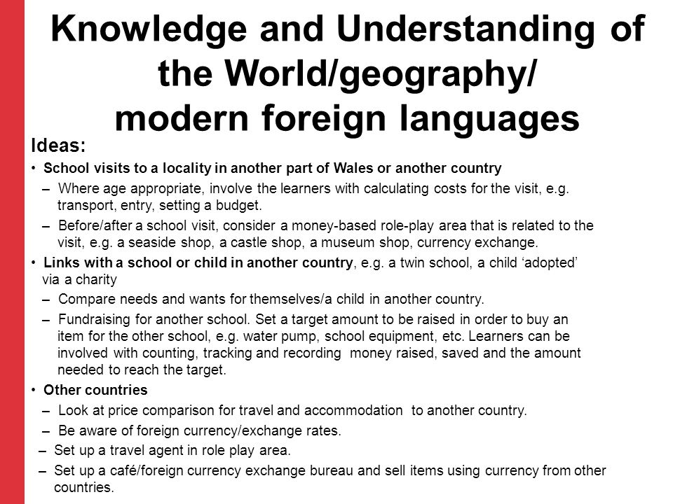 Knowledge and Understanding of the World/geography/ modern foreign languages
