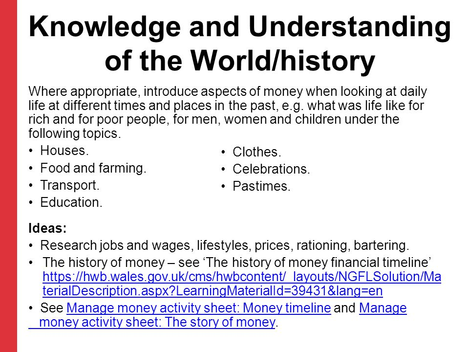 Knowledge and Understanding of the World/history