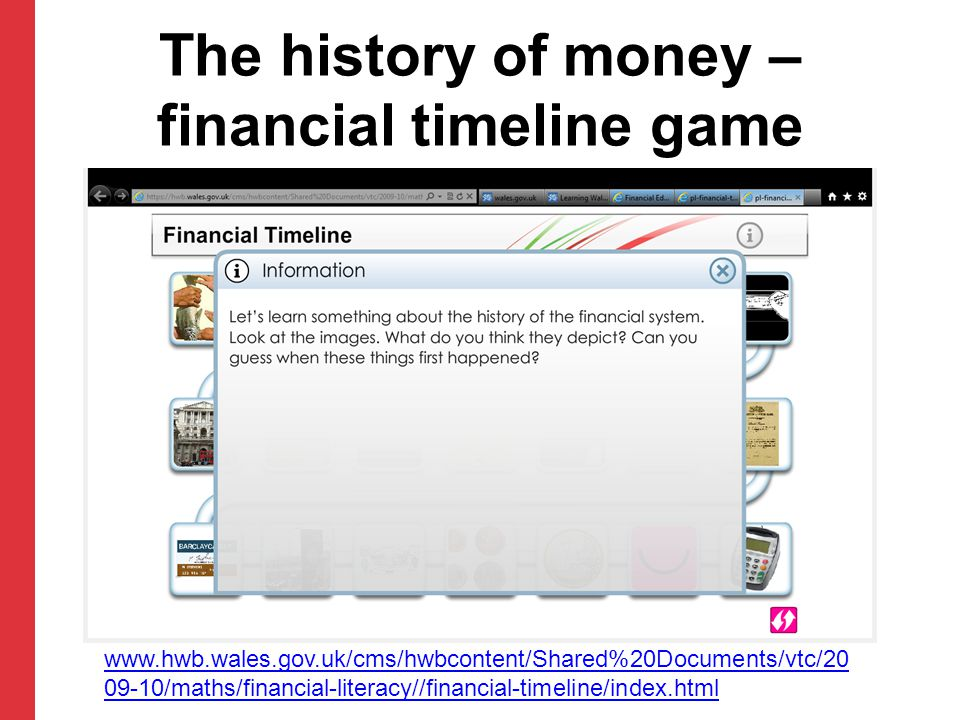 The history of money – financial timeline game