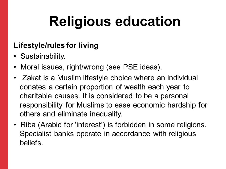 Religious education Lifestyle/rules for living Sustainability.