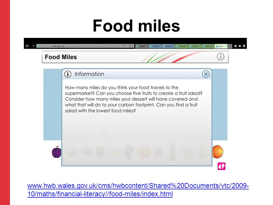 Food miles www.hwb.wales.gov.uk/cms/hwbcontent/Shared%20Documents/vtc/2009-10/maths/financial-literacy//food-miles/index.html.