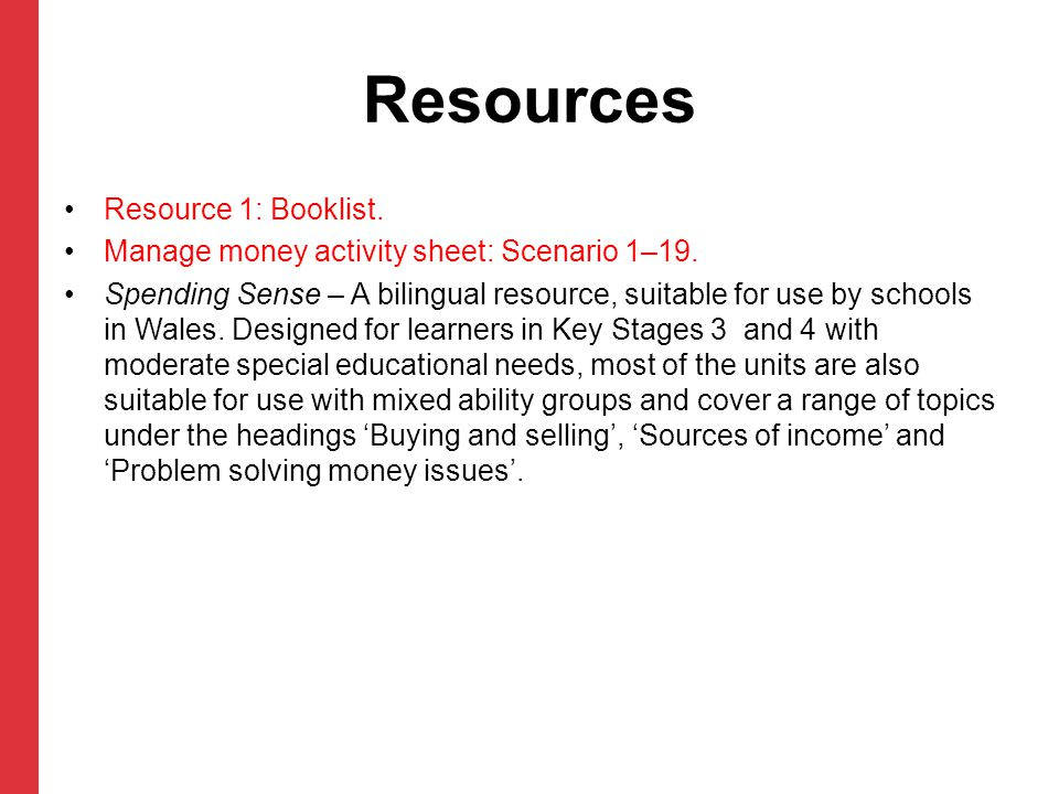 Resources Resource 1: Booklist.